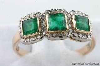Smaragdring Smaragd Ring antik Gold mit Diamanten