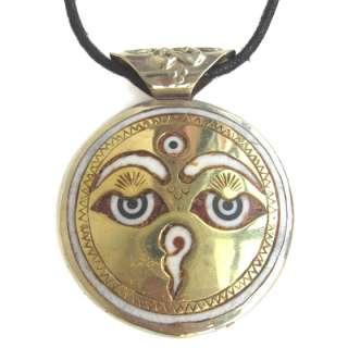 Delicate Tibetan Buddha Eye Sun God Mantra OM MANI PADME HUM Amulet