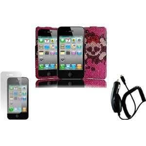 Pink Skull Full Diamond Bling Case Cover+LCD Screen