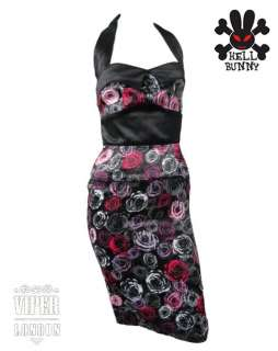 HELL BUNNY Rose Print Pencil Party/Pin Up Dress 8 16