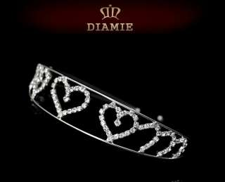 Silver plated Crystal Tiara Crown Comb Hair Accessory Jewellery