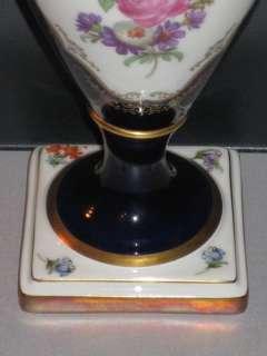 Prunkvase Schwanenhals Vase Alka Kunst Kobalt Gold