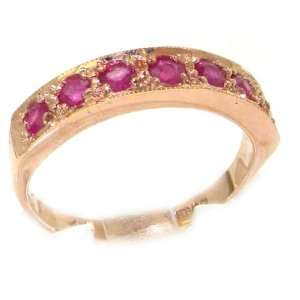 Solid English Rose Gold Ladies Natural Ruby Eternity Band Ring   Size
