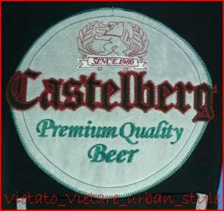 FELPA UOMO NERO TG L CASTELBERG BEER ORIGINAL STAMPA ORIGINALE RICAMO