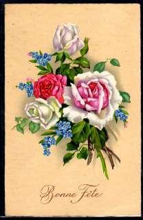 ~G44 Bouquet de ROSES et MYOSOTIS Belle LITHO AMAG~