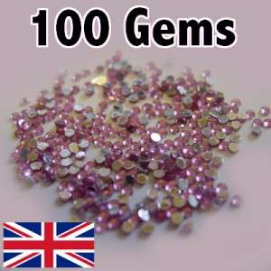 100 PINK NAIL GEMS Rhinestones 1.5mm ROUND DIAMANTE UK