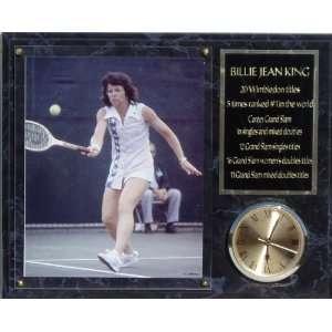 Billie Jean King 12x15 Marbleized Clock Plaque:  Sports