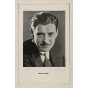 1927 Silent Film Star Ronald Colman Samuel Goldwyn   Original Print