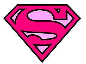 SUPERMAN LOGO PINK IRON ON T SHIRT TRANSFER A5