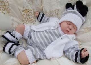 KNITTING PATTERN TO MAKE CHESTER BABY / REBORN DOLL 4 PIECE ROMPER