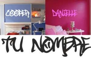 Tu nombre en graffiti   PEGATINA VINILO CASA  S2