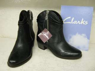 Clarks Marie Chloe Black Leather Casual Zip Up Cowboy Style Ankle