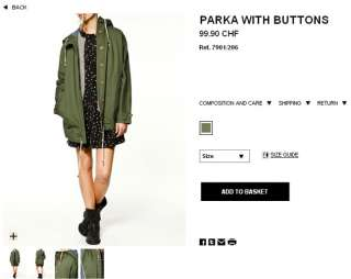 Military Hooded Parka With Buttons Trench Coat Jacket S M L