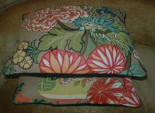 Schumacher Print Linen Fabric Designer Throw Pillows Chiang Mai Dragon