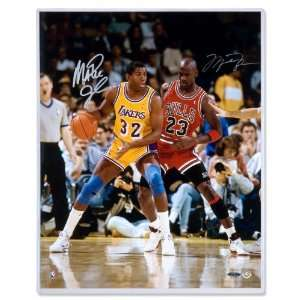 Michael Jordan/Magic Johnson Autographed Bulls/Lakers 32 v