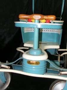 Vintage 1940s Genuine TAYLOR TOT Baby Child Walker Stroller Aqua Blue