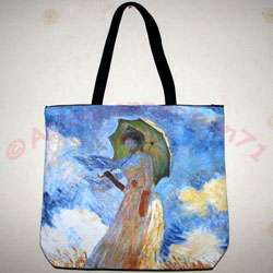 WOMAN with PARASOL New MONET Art Bag Purse Tote S or L