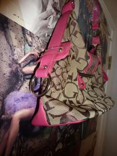 Guess Logo Studded Animal Print Patchwork Pink Handbag