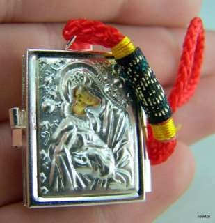 Rare Virgin Mary Russian Silver Icon Box Locket Medal