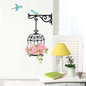 BLUE BIRD & PINK ROSE Removable Vinyl Decal Wall Paper