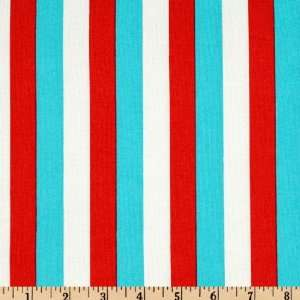 45 Wide A Day At The Circus Stripe White/Red/Blue Fabric