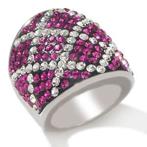 Stately Steel Stainless Steel Crystal Argyle Pattern Ring