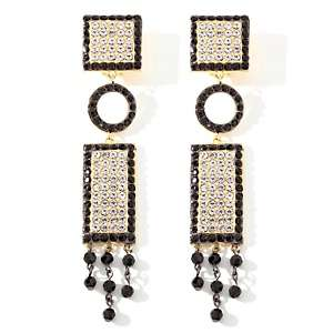 AKKAD Deco Glamour Pavé Black and Clear Crystal Dangle Earrings at