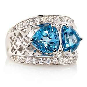 72ct Swiss Blue Topaz and White Topaz Sterling Silver Ring