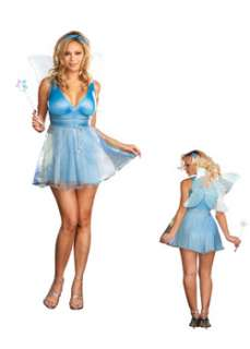 Womans Plus Sexy True Blue Fairy  Cheap Fairy Halloween Costume for