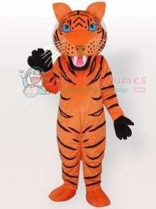 Orange Tiger with Black Stripes Adult Mascot Costume  Orange Tiger