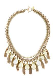 Anton Heunis  Multi Chained Necklace With Drop Stone And Tassle