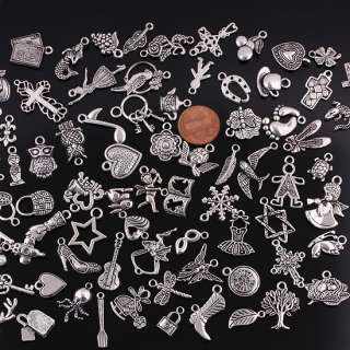 Bulk Wholesale Mixed Tibetan Silver Pendant Charms 100X
