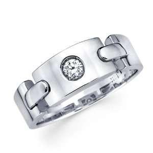 Ladies Solitaire Diamond Wedding Band 14k White Gold Ring (1/10 Carat