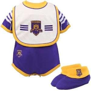 adidas Weber State Wildcats Infant Purple Three Piece Creeper Set
