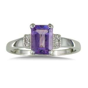 Silver Emerald Cut Amethyst and Diamond Ring (1 3/4 cttw) Jewelry