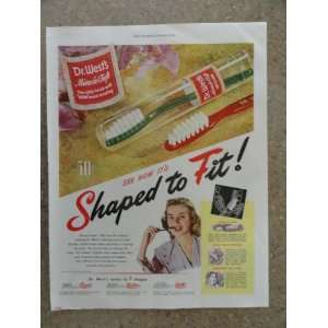 Dr. Wests tooth brush, Vintage 40s full page print ad. (shaped to