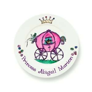 Hand Painted Plate   Princess Carriage Baby