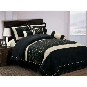 Queen Black Micro Suede Comforter Bed in a Bag Set