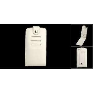 Gino White Clip Fastener Leather Case Cover w Belt Clip