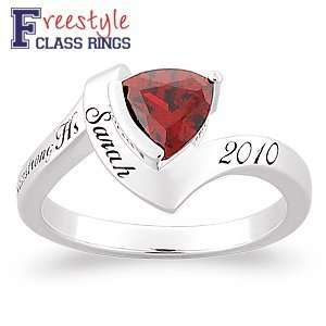 Ladies Sterling Silver Trillion Birthstone Class Ring Jewelry