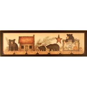 Black Bears Cabin Home Pine Framed Print Picture: Home