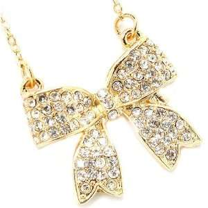 Fancy Gold Tone Ribbon Bow Crystal Charm Pendant Necklace
