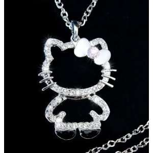 White Crystal Pendant Necklace with White Bow + One Hello Kitty Pouch