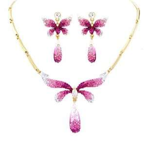 Crystal Butterfly Bridal Necklace Earring Set Jewelry