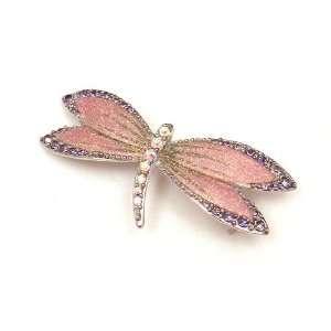 Austrian Rhinestone & Pink Enamel Dragonfly Silver Plated Brooch Pin