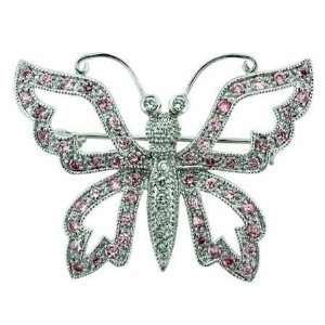 Silver Filigree pave Pink cz and Simulated Cubic Zirconia Butterfly