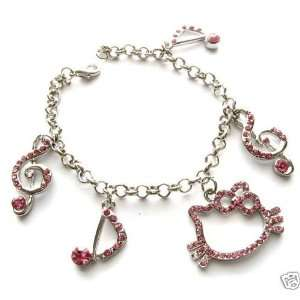 HELLO KITTY MUSICAL NOTES CRYSTAL CHARM BRACELET 7