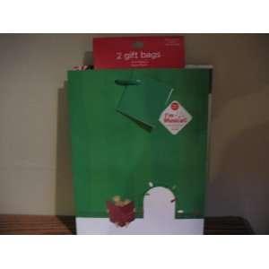 2 Holiday Christmas Gift Bags One Bag Plays Music 9.7x 7
