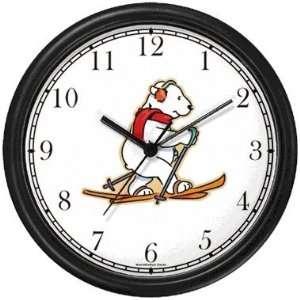 Cross Country Skiing Polar Bear Animal Wall Clock by WatchBuddy