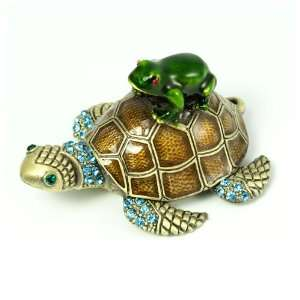 Sea Turtle and Frog Crystal Studded Pewter Jewelry Trinket Box